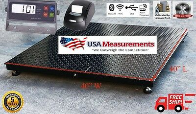 5 Year Warranty 1000 Lb 40x40 Floor Scale Pallet Warehouse With Printer