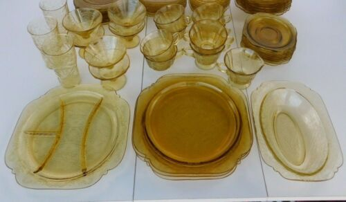 ANTIQUE Federal Amber Glass Dinnerware 33Piece Set 1932-39?