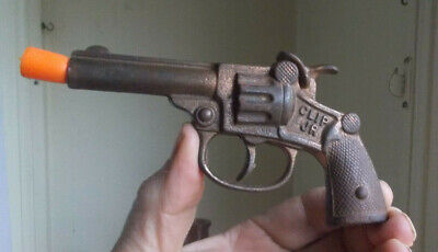 1930s ORIGINAL CLIP JR IRON CAP GUN TOY PISTOL DOUBLE ACTION WORKS GREAT