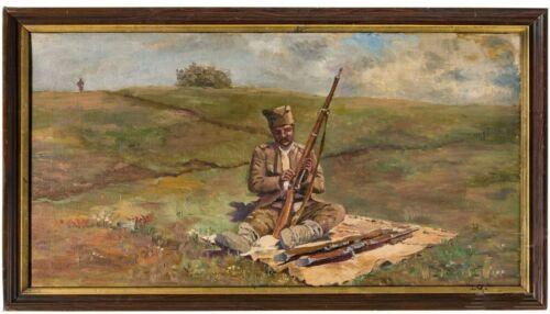 WORLD WAR I.-Serbian Soldier on the Battlefield