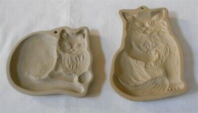 2 Vtg Brown Bag Cookie Molds Cats 1984 1992