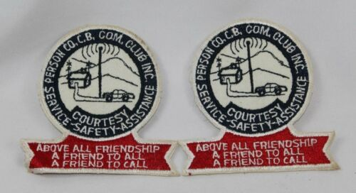 Vintage Lot of 2 CB Radio Club Patches from Person County North Carolina
