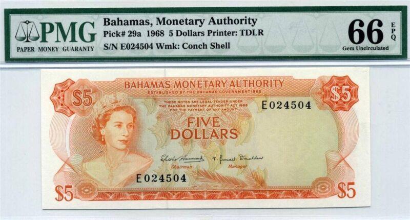 BAHAMAS $5   1968 P 29a    PMG 66 EPQ Gem UNC  QE2