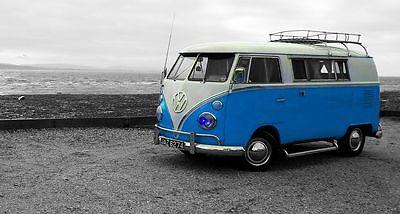 VW Camper Van Blue Canvas Multi Sizes Wall Art Poster Print Surfing campervan ()