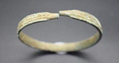 Ancient Bactrian bronze decorated bracelet C. 500 BC