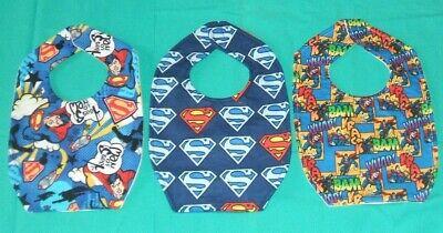 NEW cute BABY  CHILD BIB Super Heroes Man of Steel SUPERMAN Emblem 3 designs