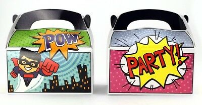 12pk Superhero Birthday Party Goody Loot Bag Favor Party Supplies Treat Boxes - Superhero Goodie Bags