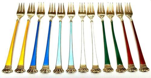 ELA Denmark Set Of 12 Sterling Silver 925S Multicolored Enamel Cocktail Forks