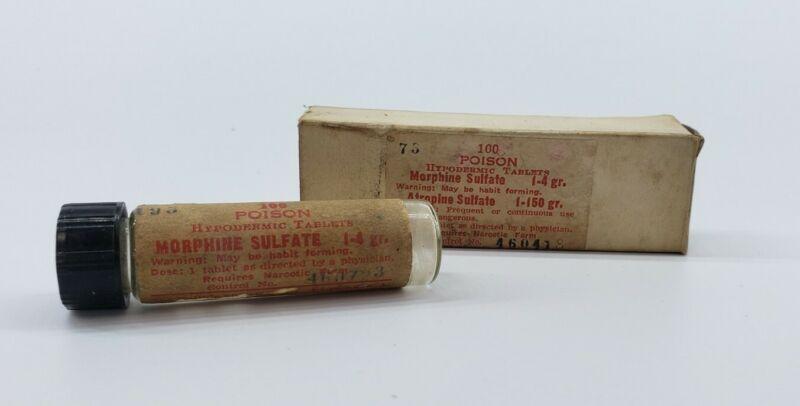 WWII Era Morphine Sulfate Vial & Box - Empty - Maltbie Chemical Co - Newark NJ