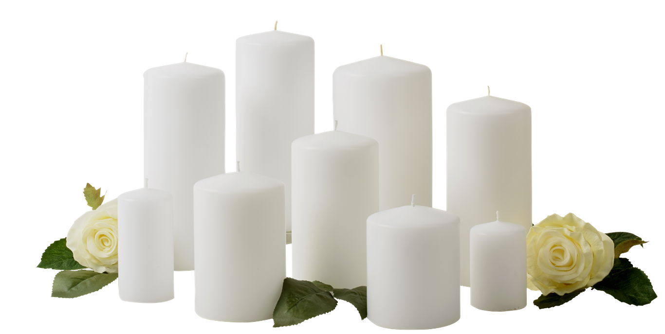 White Pillar Candles Unscented -  Quality European made Mult