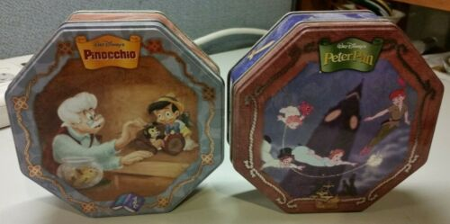 Disney Peter Pan and Pinocchio Empty Collectable Cookie Tins