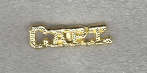 High School Team Captain CAPT Letterman Jacket Pin gold tone