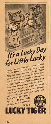1946 vintage AD LUCKY TIGER HAIR TONIC for Hair and Scalp cute ad 091815