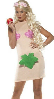 Womens Ladies Naked Adam And Eve Novelty Funny Fancy Dress Costume All Sizes (Adam Eve Costume)