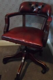 Mahogany and Red Leather Executive Swivel/Recliner Office Chair