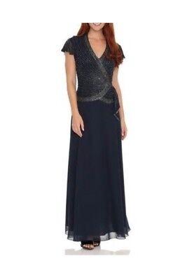 NEW J Laxmi Women's Navy 10 All over bodice Beaded V Neck Long Dress Gown $289 for sale  Midvale