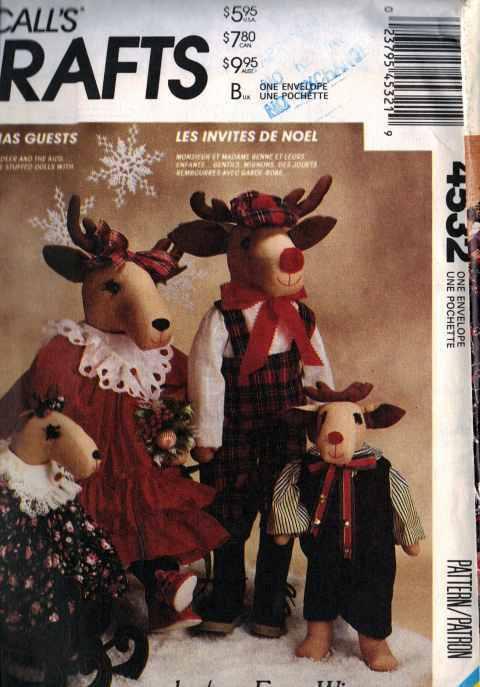 CHRISTMAS patterns REINDEER Dolls HOLIDAY DECOR Family of REINDEER DOLLS