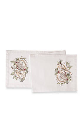 C & F Home Seashell with Christmas  Holly Table Runner 14