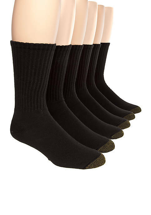 Gold Toe Men's Black Cotton Crew Athletic Sock, 6-Pair Sock Size 10-13 Clothing, Shoes & Accessories