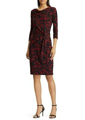Lauren Ralph Lauren sz 8 Black/Red Floral Cowl Neck 3/4 Sleeve Jersey Dress NWT