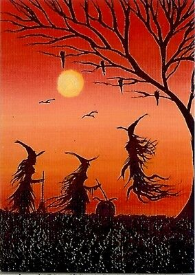 Halloween Fantasy Art (ACEO GLOSSY PRINT Fantasy Fun Whimsical Witches Halloween Ravens Art Print)
