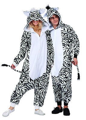 ADULT MENS ZOE THE ZEBRA HORSE MADAGASCAR JUNGLE MARTY ANIMAL PAJAMAS COSTUME - Madagascar Costumes