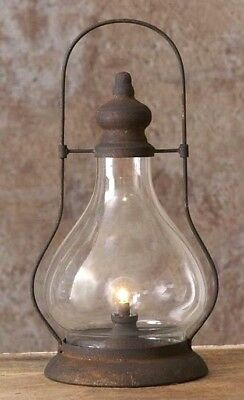 LED LANTERN TIMER LARGE Primitive Farmhouse Black Rusty Vintage Look (Hurricane Night Lights)