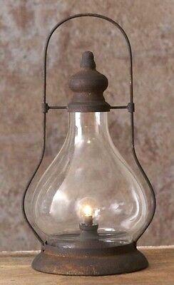 LED LANTERN TIMER LARGE Primitive Farmhouse Black Rusty Vintage Look (Hurricane Night Lights)