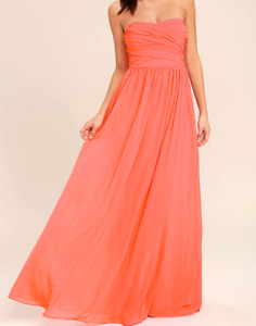 Never worn - Coral strapless maxi dress