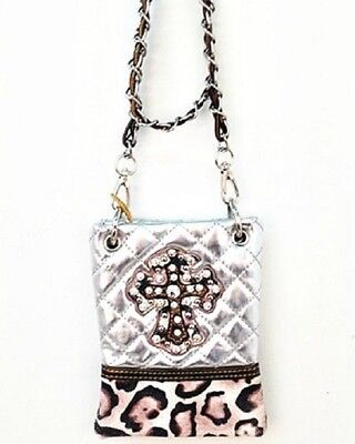 SILVER METALLIC LEOPARD STUDDED RHINESTONE CROSS LOOK MESSENGER BAG CROSS BODY