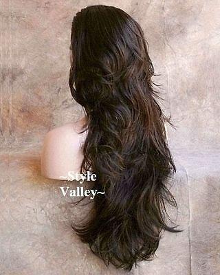 Medium Brown 3 4 Wig Fall Hairpiece Long Wavy Half Wig Layered Xl Hair Piece  6