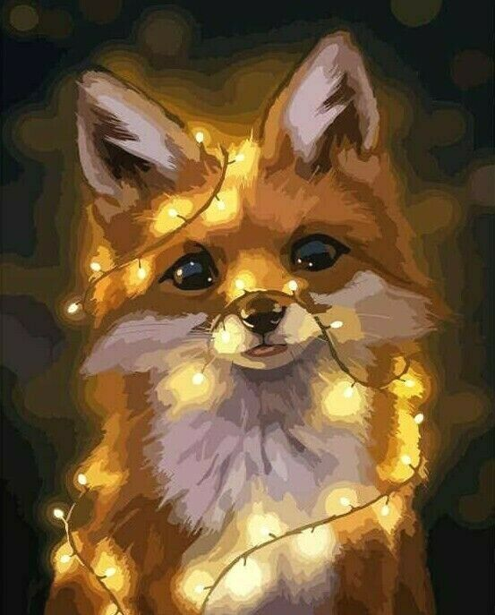 Baby Fox Autumn Forest Paint by Numbers Canvas Art Work DIY 40cm x 50cm