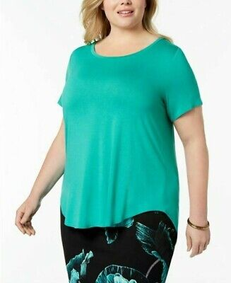 Alfani Plus Size 0X,1X,3X Top Womens High-Low Tee Canary Green T-Shirt NEW