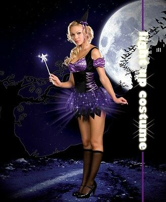 Switch Witch Halloween Light Up Costume Women Purple Dress 3 Piece Set SIZE L - Switch Witch Light Up Halloween Costume