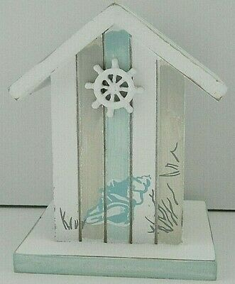 SHABBY CHIC BLUE GREY AND WHITE BEACH HUT MONEYBOX BATHROOM NAUTICAL White Beach Hut