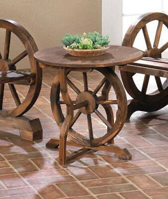 rustic wood country WAGON WHEEL outdoor terrace patio furniture bedside TABLE