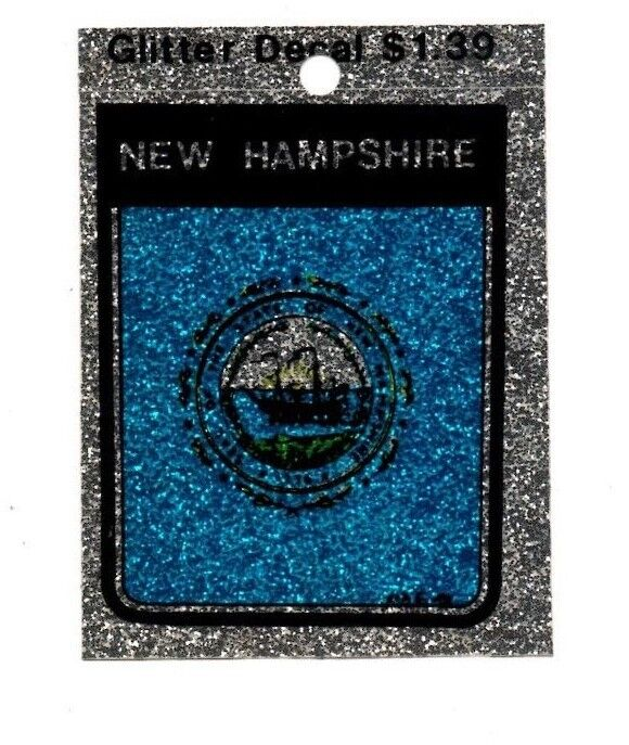 Lot of 12 New Hampshire Glitter Decals Stickers - NOS - Free Shipping!