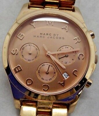 """Marc By Marc Jacobs MBM3107 Rose Gold Tone Analog Watch Size 6 1/4"""" Used"""