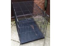 EXTRA LARGE FOLDING METAL PET / DOG CAGE / CRATE – L. 42 inch, W. 28 inches, H. 30 inches