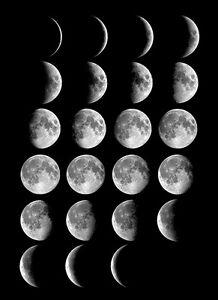 Luna-fases-A3-A4-Impreso-Poster-Poster-Espacio-SUN-Noche-Oscuro