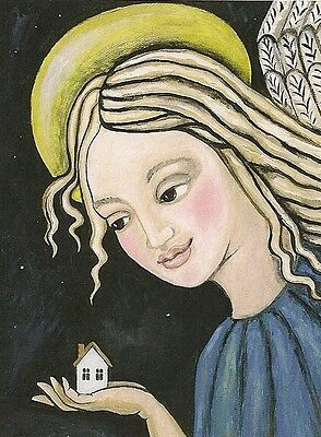 1.5x2 DOLLHOUSE MINIATURE PRINT OF PAINTING RYTA 1:12 SCALE HOUSE WARMING ANGEL