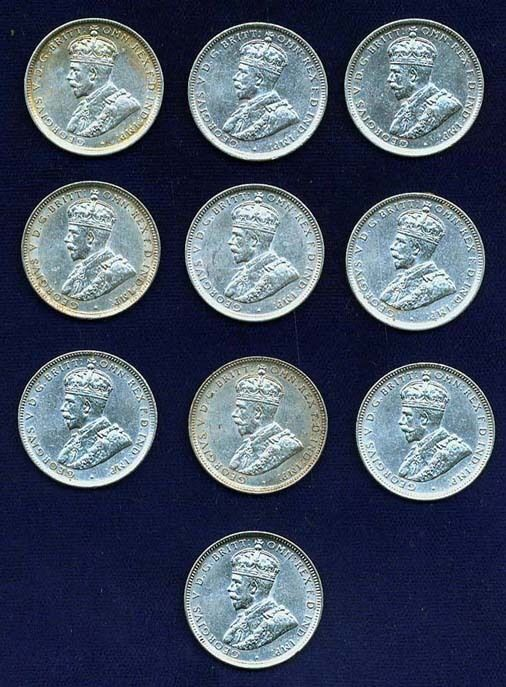 AUSTRALIA GEORGE V 1917-M  1 SHILLING SILVER COINS (10), XF to XF+