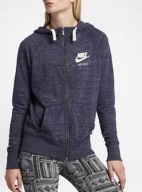 Nike Women's Gym Vintage Hoodie Lite Summer Sweatshirt M Blue Zip ...