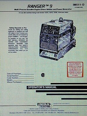 Lincoln Ranger 9 Welder Onan Engine Operator Service Parts 3 Manuals 188p