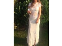 White Formal Dress Size 8 Fitted. Backless Dress. Can be viewed & Tried.