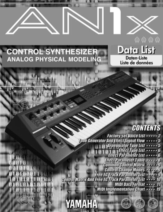 Yamaha AN1X Synthesizer OWNER S MANUAL And DATA LIST - $19.95