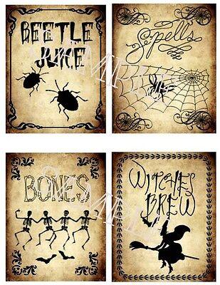 Vintage Halloween Stickers Cannister Jars Potions Witch Skull Beetle Juice (8)](Halloween Beetles)