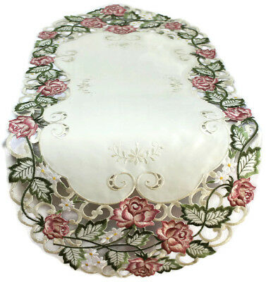 Doily Boutique Table Runner, Doily, Mantel Scarf with Victorian Pink Roses