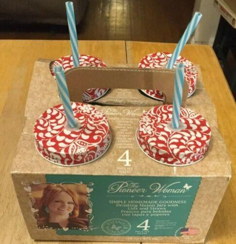 Pioneer Woman 4 Pc Set 16oz Drinking Glass Mason Jars w/Lids