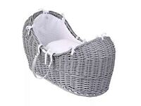 Moses basket for sale - grey wicker Clare De Lune Noah pod and rocking stand, with mattress.